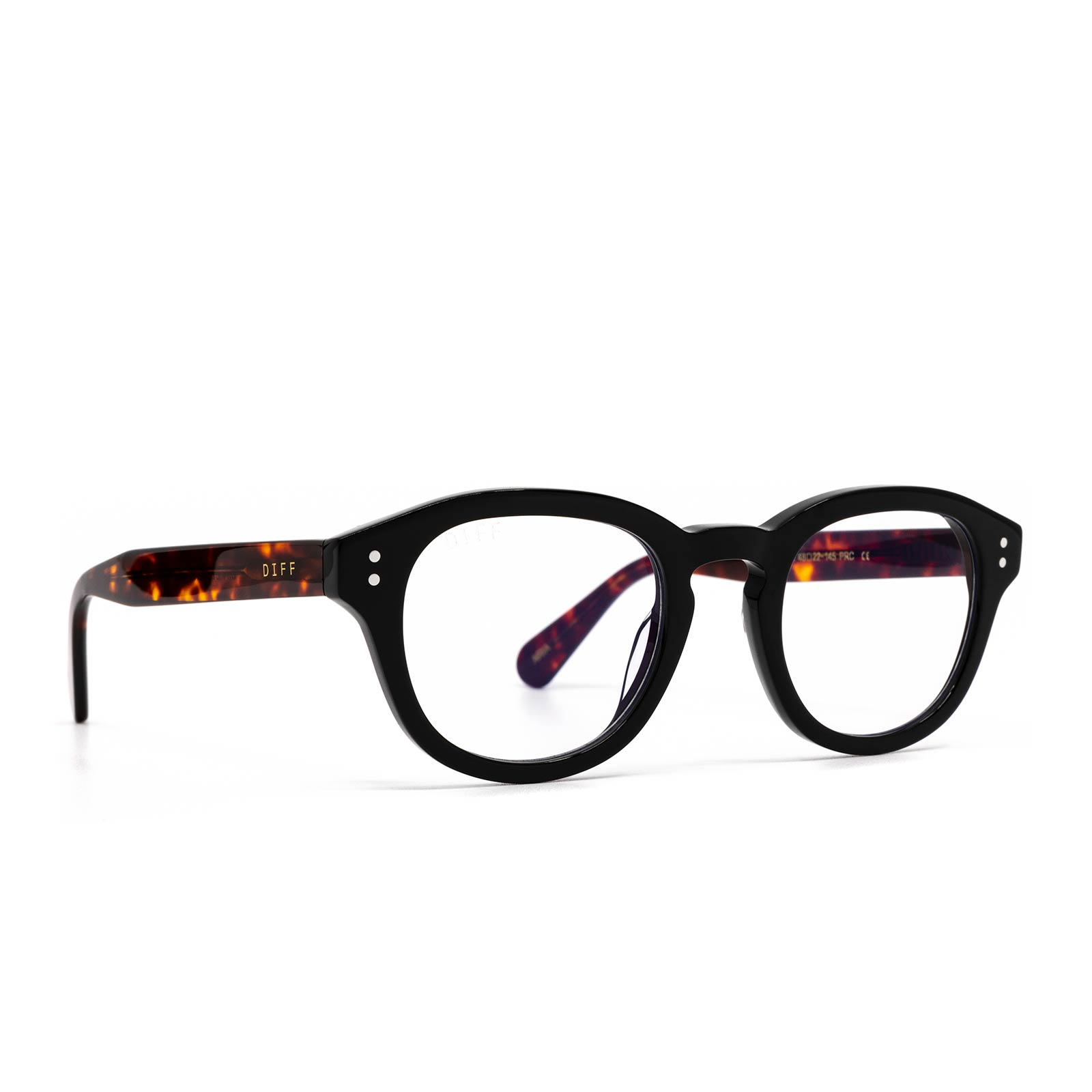 Aria eyeglasses with black amber tortoise frame and blue light technology - angle view
