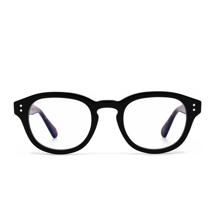 Aria eyeglasses with black amber tortoise frame and blue light technology - front view