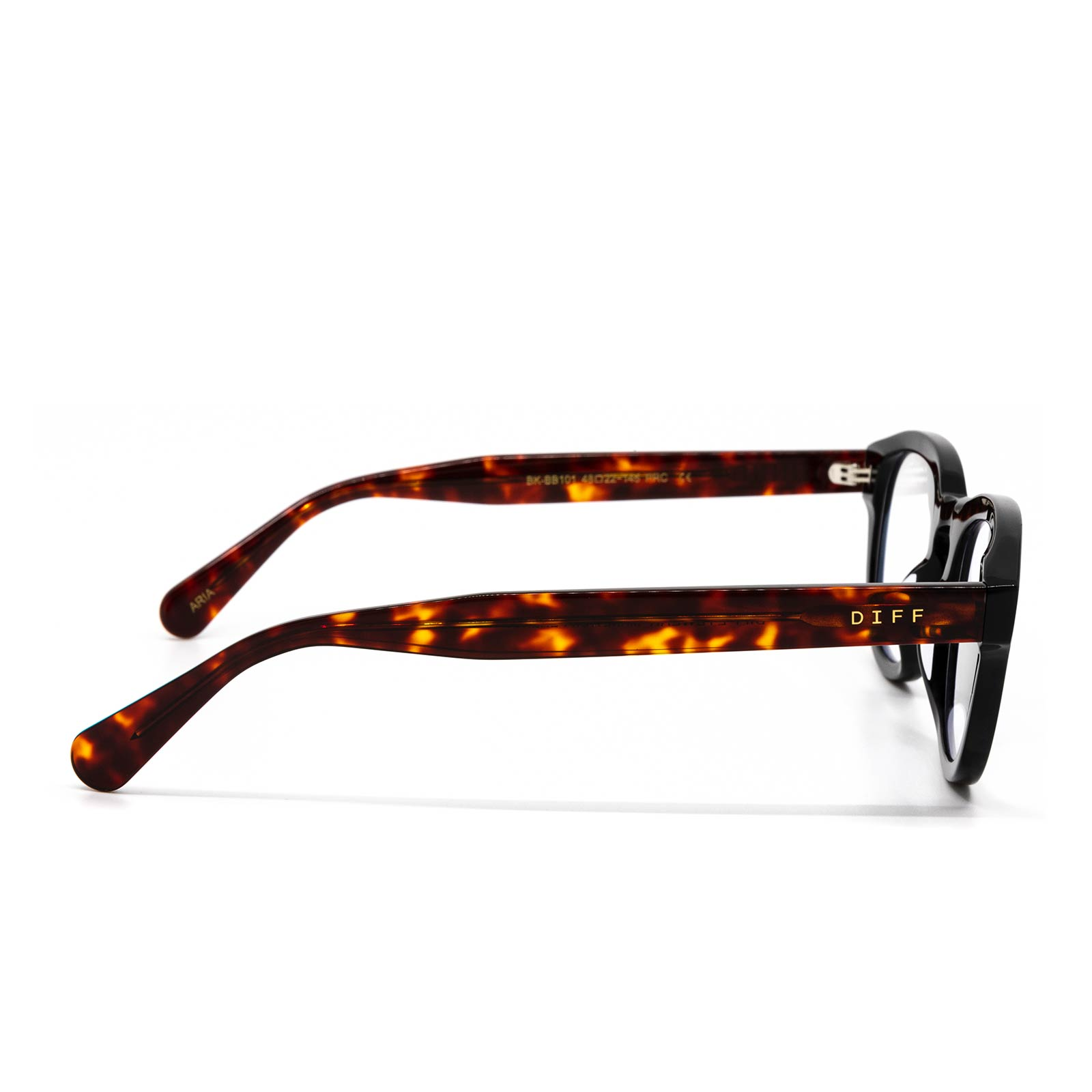 Aria eyeglasses with black amber tortoise frame and blue light technology - side view