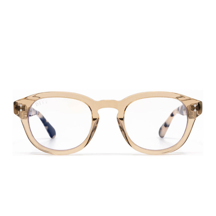 Aria eye glasses with vintage crystal cream tortoise frame and blue light technology - front view