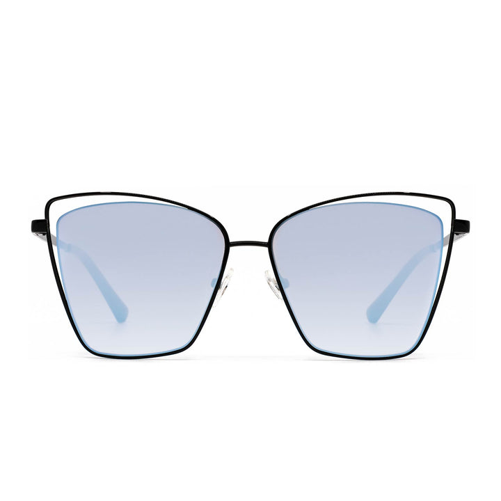 Becky III sunglasses with black frame and blue mirror lens- front view