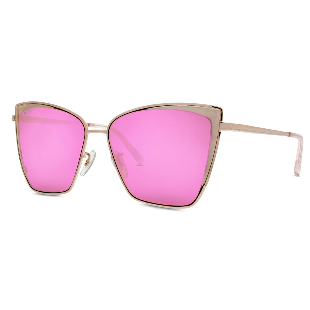 Becky Cat Eye Sunglasses Rose Gold Frames Amp Pink Mirror