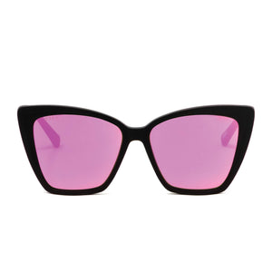 BECKY II - MATTE BLACK + PINK MIRROR POLARIZED