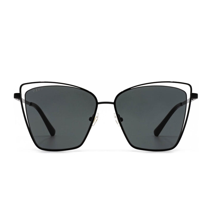 Becky III sunglasses with black frame and grey lens- front view