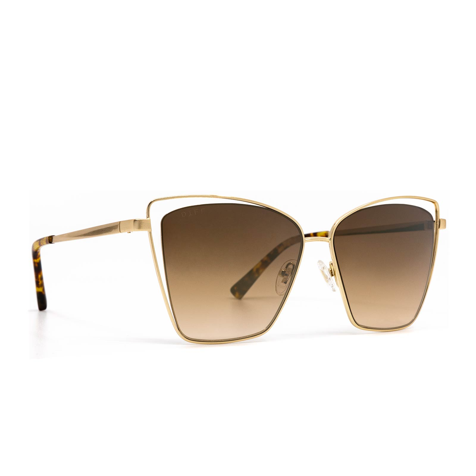 Becky III sunglasses with brushed gold frame and brown gradient lens-angle view