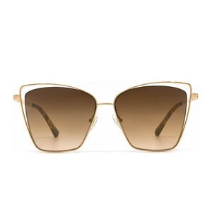 Becky III sunglasses with brushed gold frame and brown gradient lens-front view