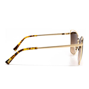 Becky III sunglasses with brushed gold frame and brown gradient lens- side view