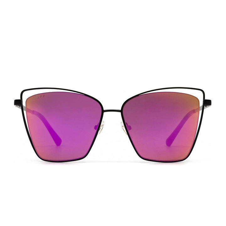 Becky III sunglasses with matte black frame and pink mirror lens- front view
