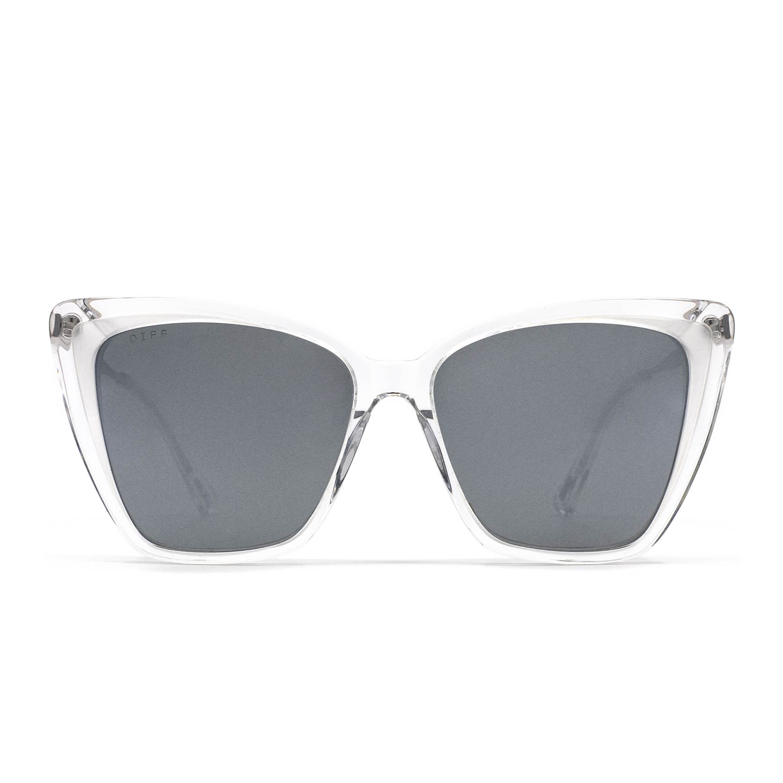 Becky II sunglasses with clear frame and grey flash lens- front view