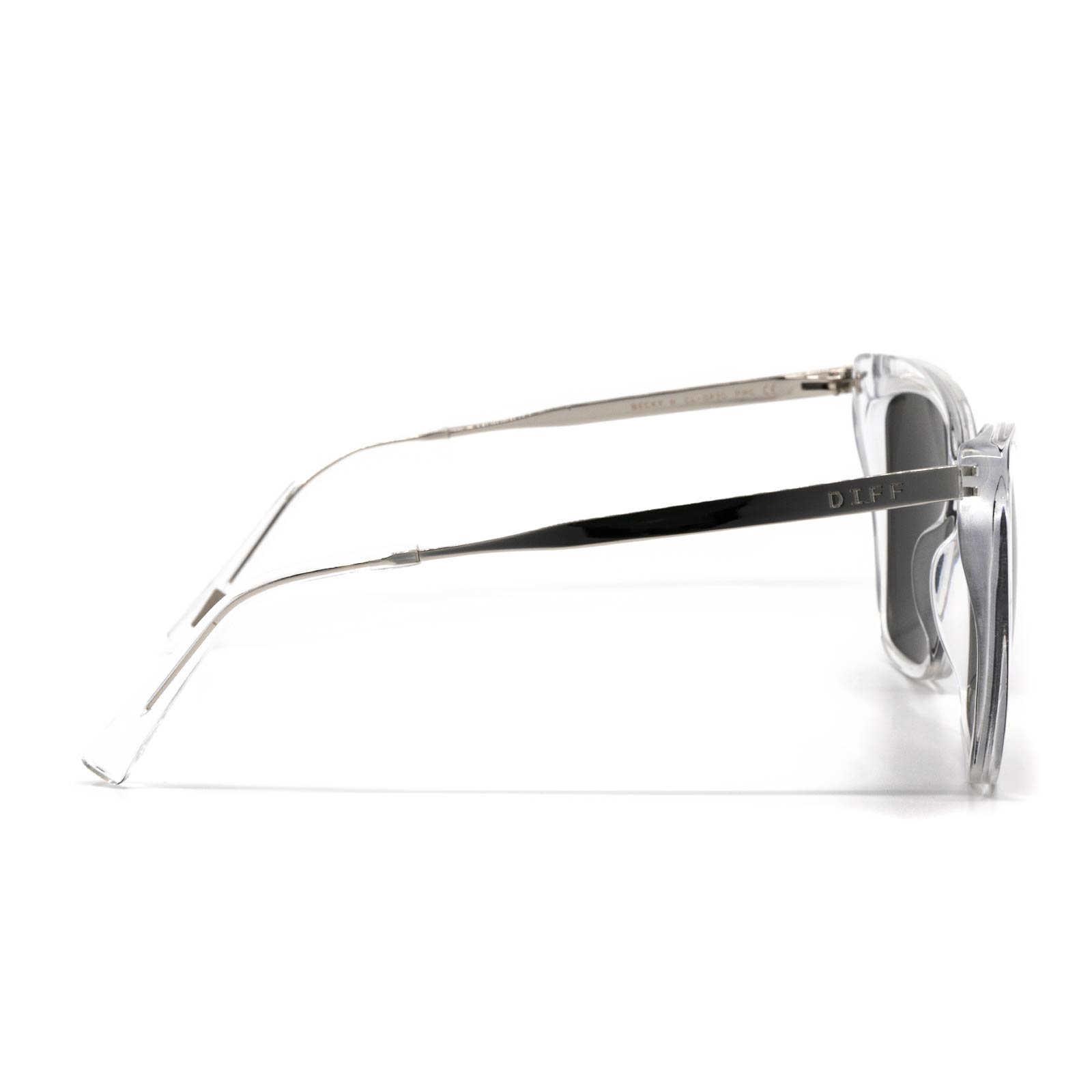 Becky II sunglasses with clear frame and grey flash lens- side view