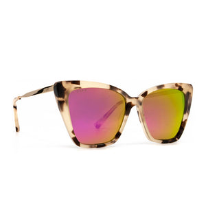 Becky II sunglasses with cream tortoise frame and pink mirror lens- angle view