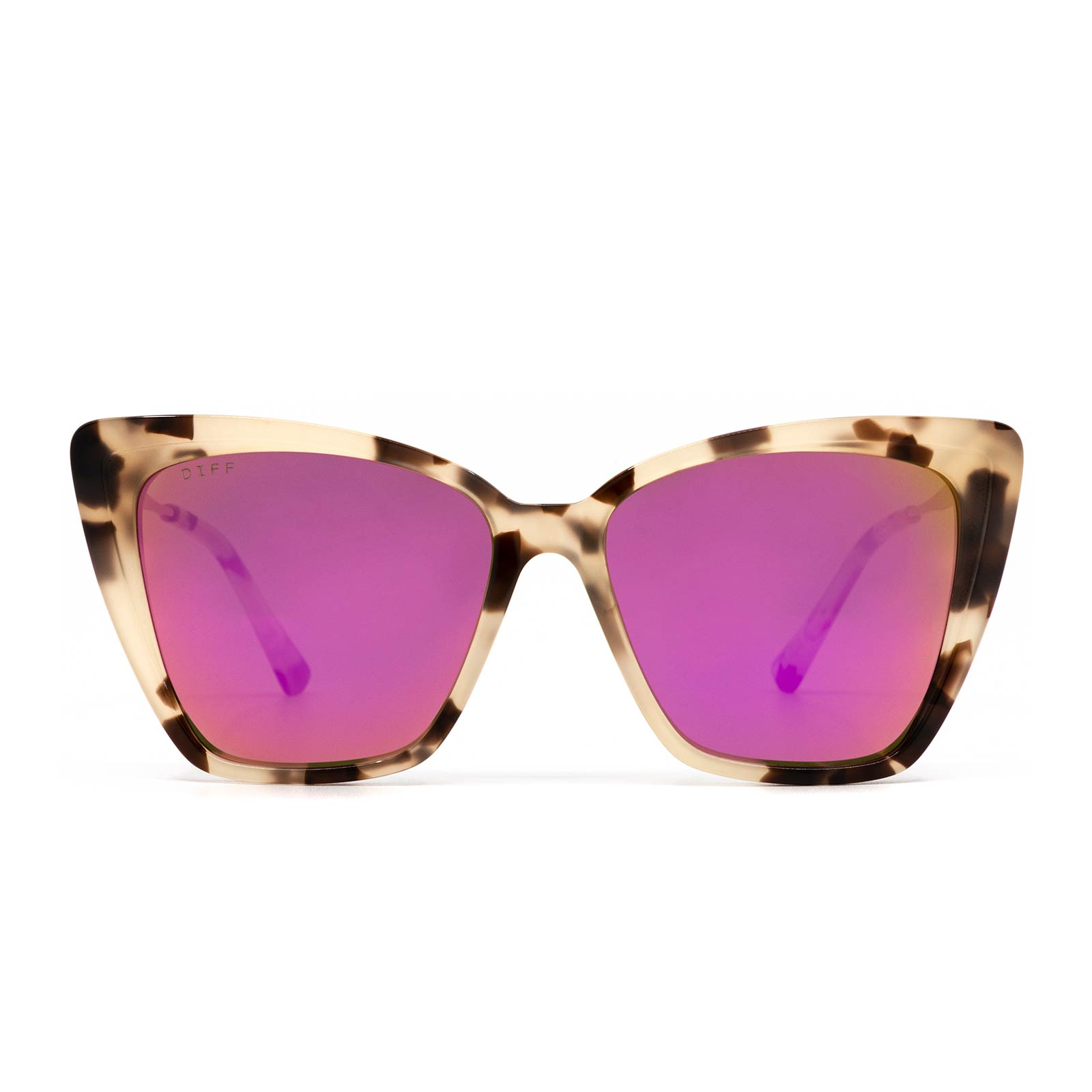 Becky II sunglasses with cream tortoise frame and pink mirror lens- front view