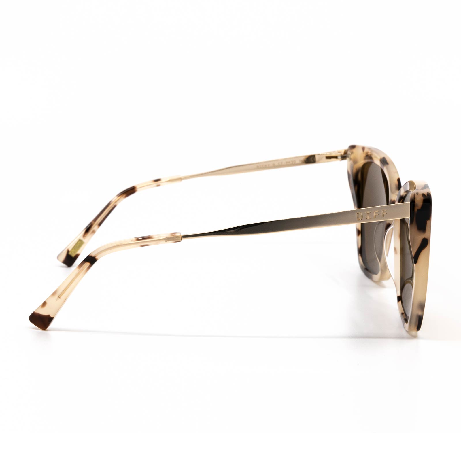 Becky II sunglasses with cream tortoise frame and pink mirror lens- side view