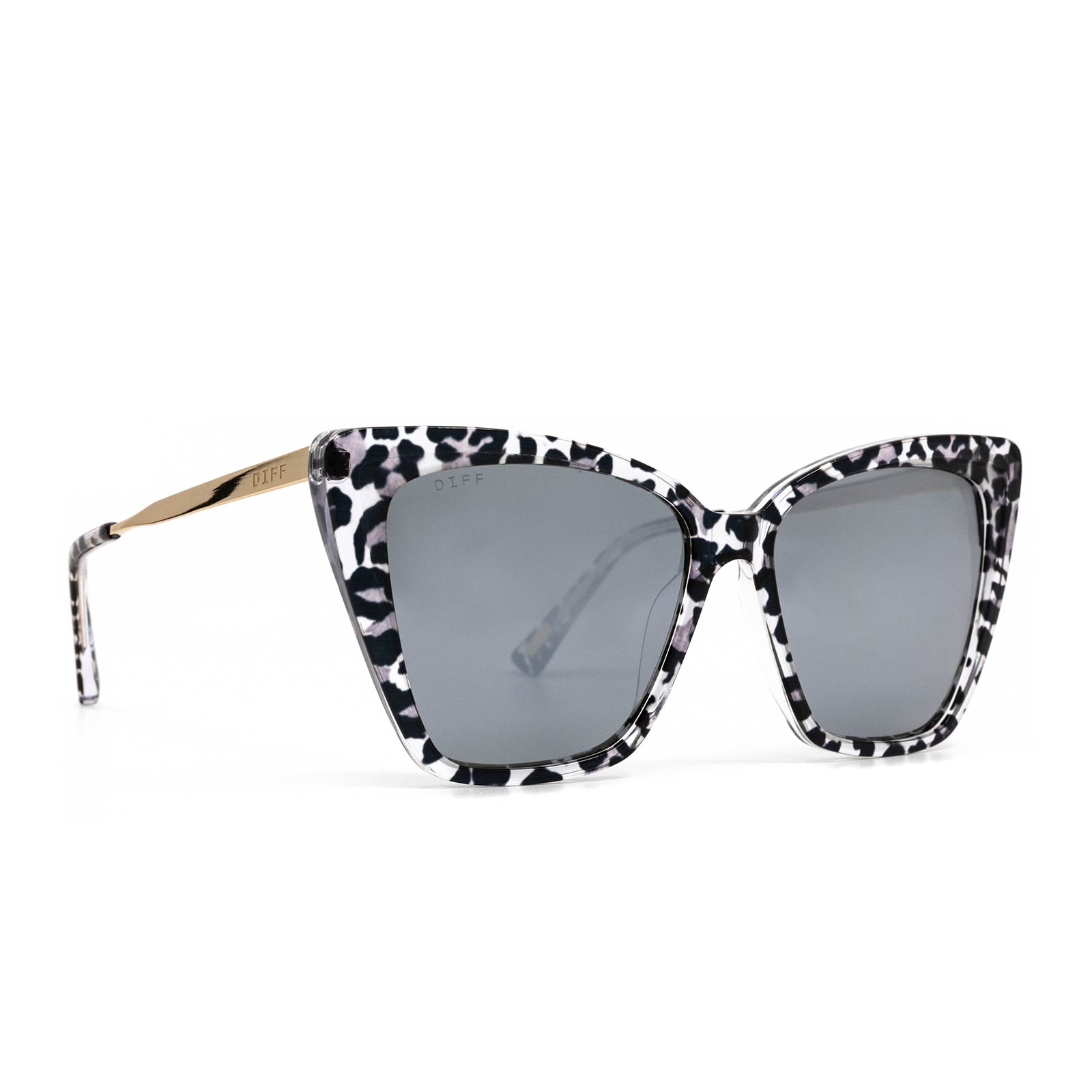 Becky II sunglasses with clear leopard frame and grey mirror lens- angle view