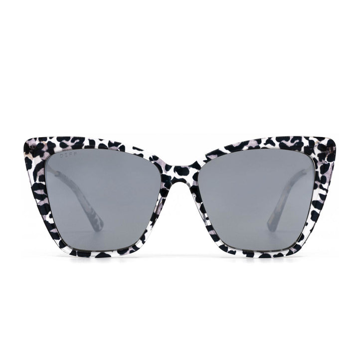 Becky II sunglasses with clear leopard frame and grey mirror lens- front view