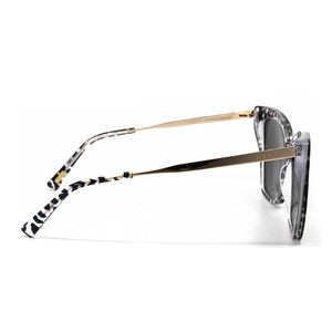 Becky II sunglasses with clear leopard frame and grey mirror lens- side view