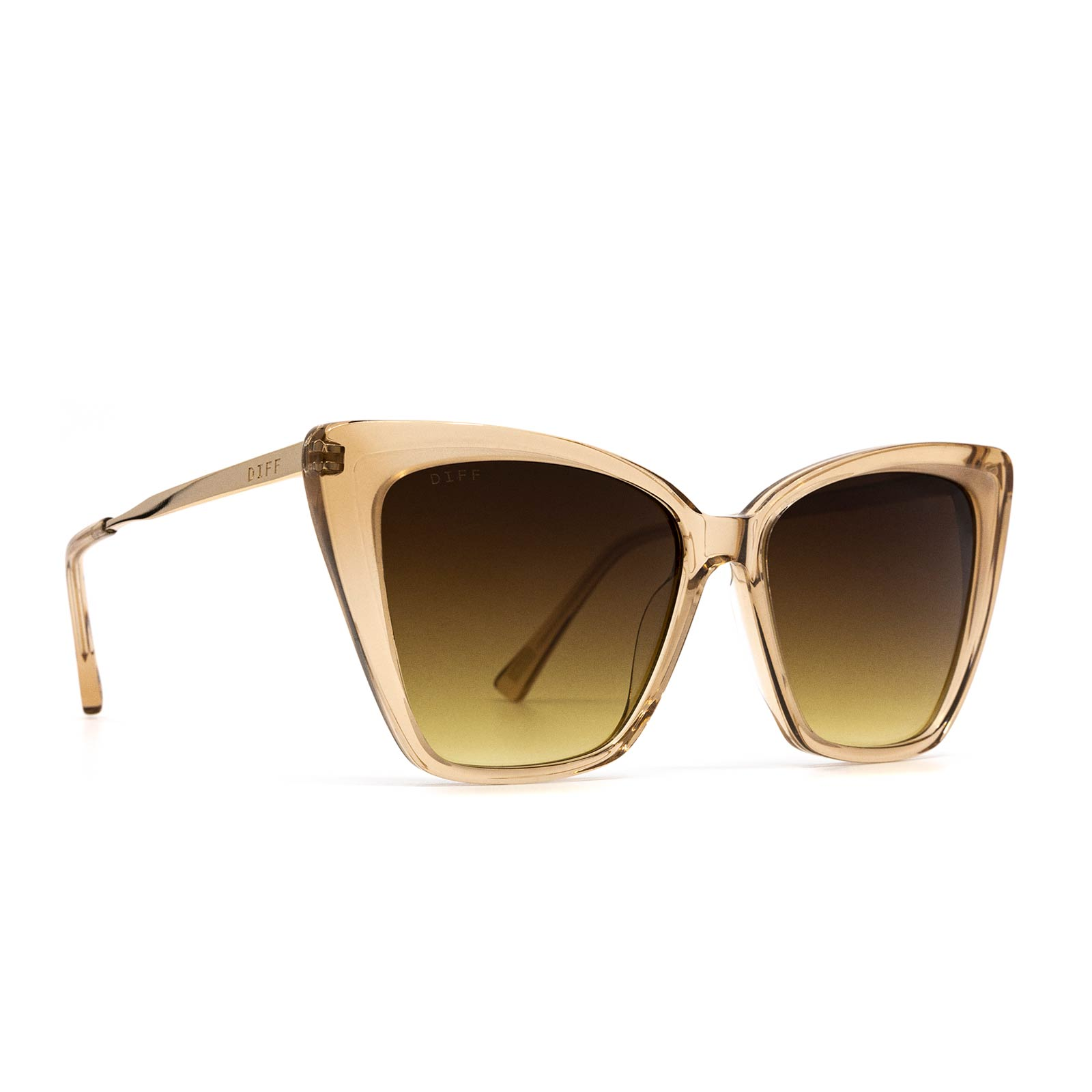Becky II sunglasses with vintage crystal frame and brown gradient lens- angle view