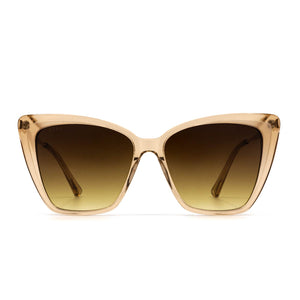 Becky II sunglasses with vintage crystal frame and brown gradient lens- front view