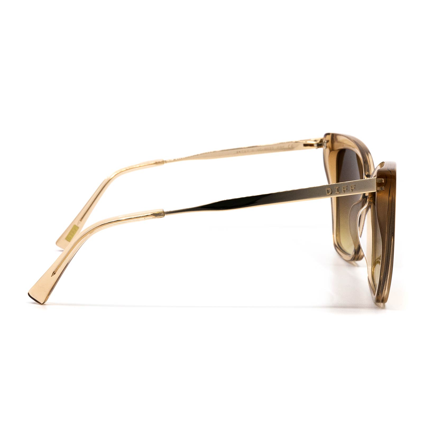 Becky II sunglasses with vintage crystal frame and brown gradient lens- side view
