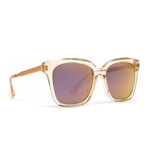 Bella sunglasses with blush crystal frame and taupe flash lens- angle view