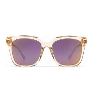 Bella sunglasses with blush crystal frame and taupe flash lens- front view