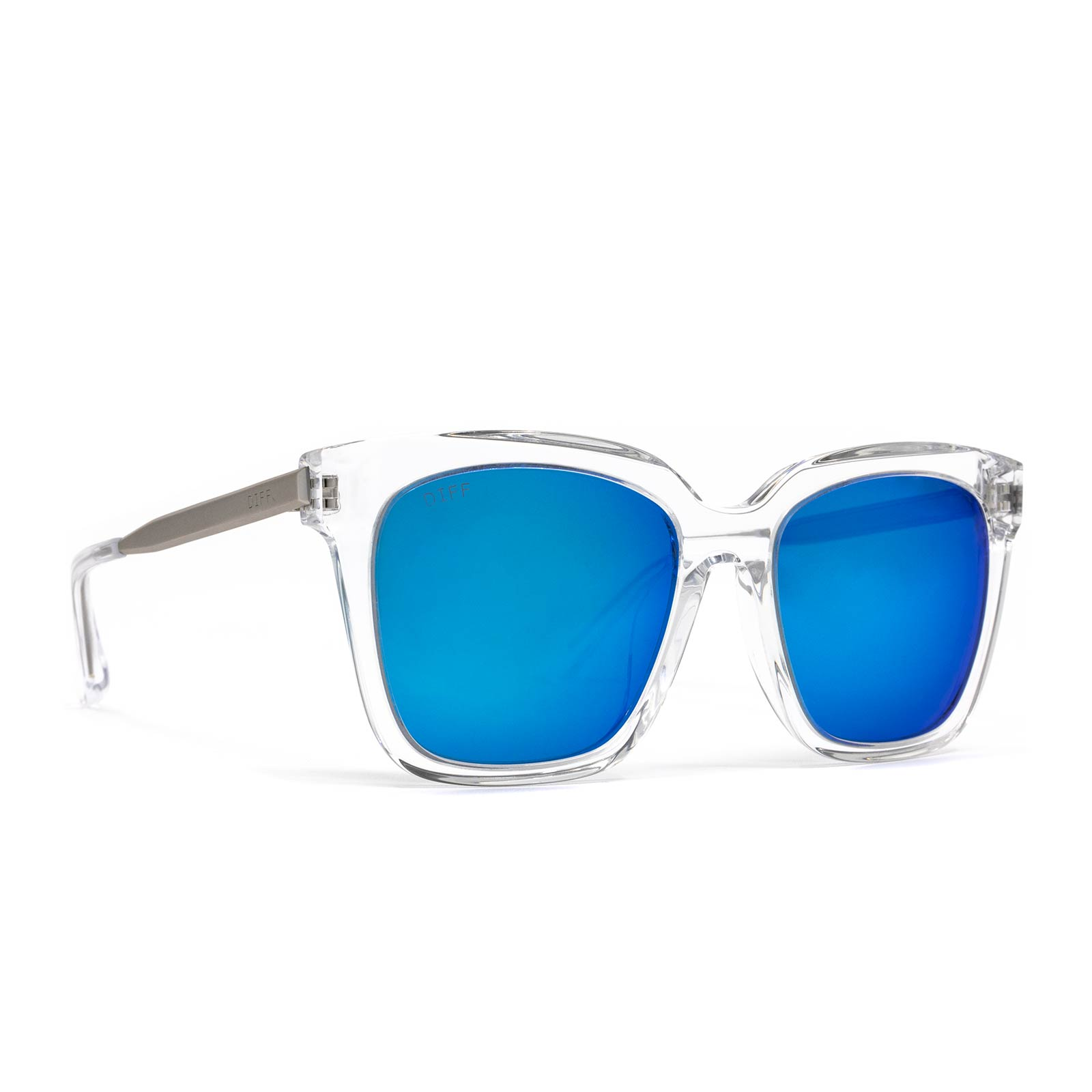 Bella sunglasses with clear frame and blue mirror lens- angle view