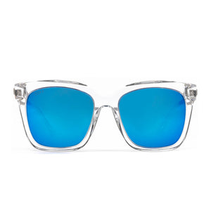 Bella sunglasses with clear frame and blue mirror lens- front view
