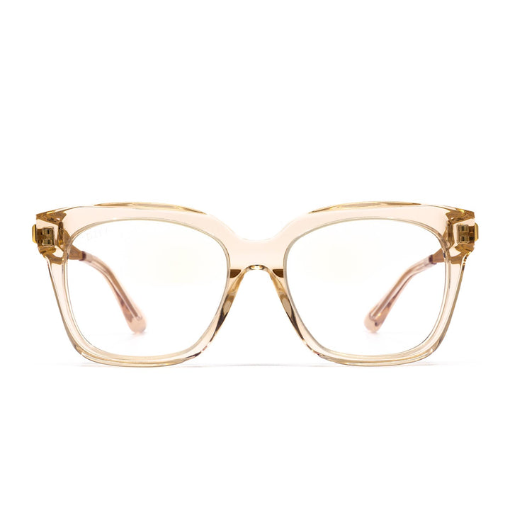 Bella rx eye glasses with blush crystal frame and blue light technology- front view