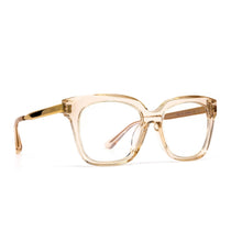 Bella XS prescription eyeglasses with blush crystal frames angle view