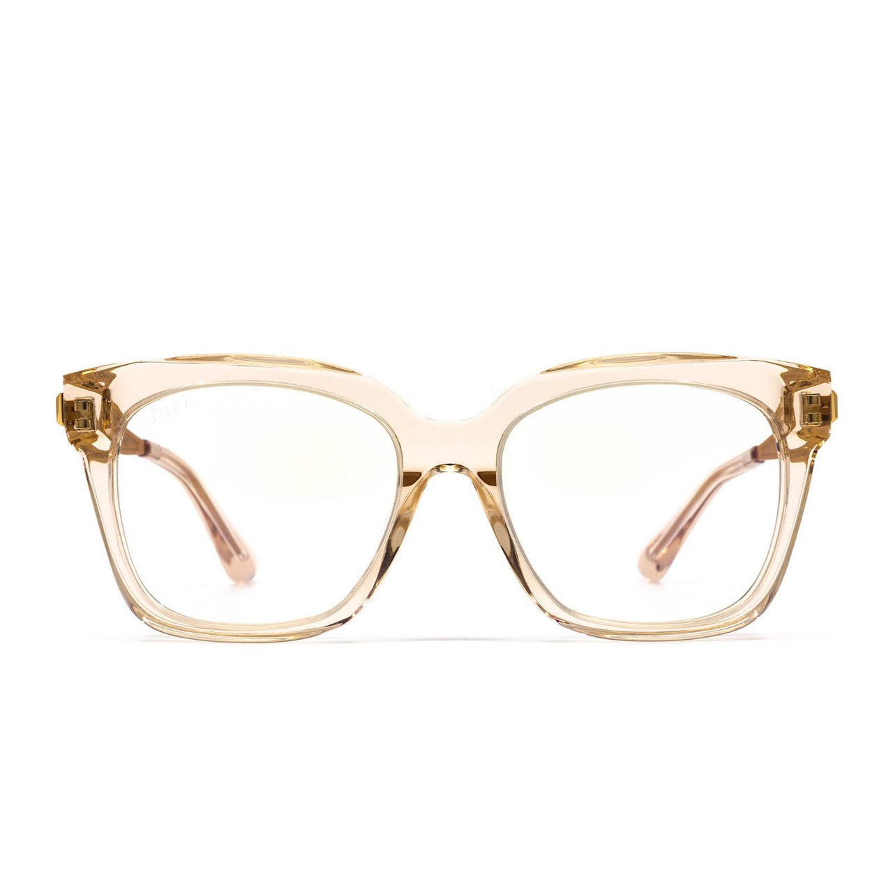 Bella XS prescription eyeglasses with blush crystal frames front view