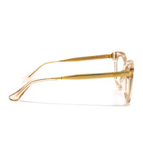 Bella XS prescription eyeglasses with blush crystal frames side view