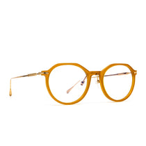 Bennett prescription eyeglasses with dark ginger frames angle view