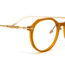 Bennett prescription eyeglasses with dark ginger frames detailed view
