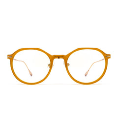 Bennett prescription eyeglasses with dark ginger frames front view