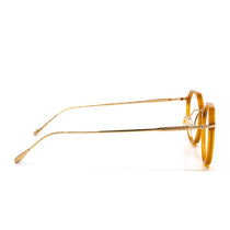 Bennett prescription eyeglasses with dark ginger frames side view