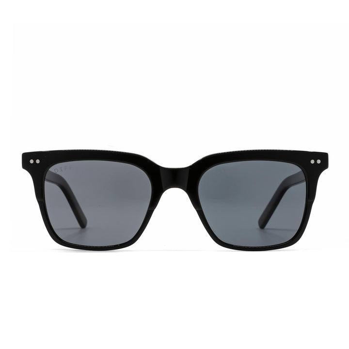 Billie sunglasses with black frame and grey polarized lens-front view