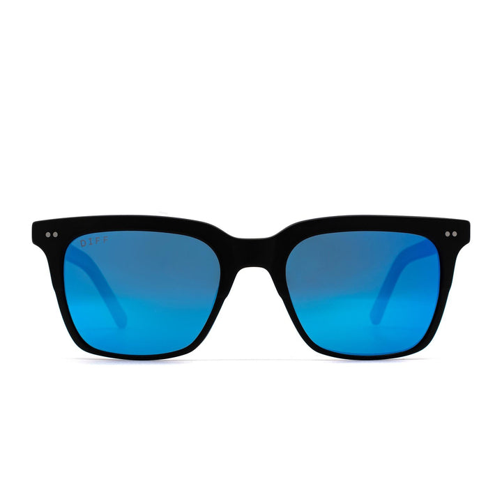 Billie sunglasses with matte black frame and blue mirror lens-front view