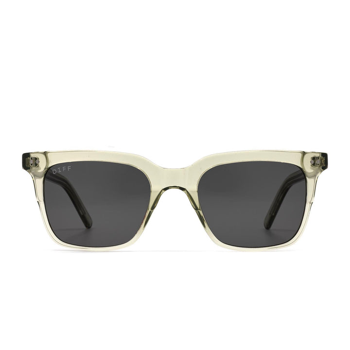 Billie sunglasses with olive crystal frame and grey lens-front view