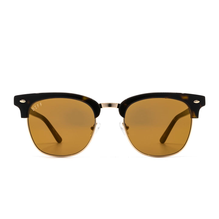 Blair sunglasses with dark tortoise frame and gold mirror lens-front view