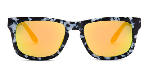 RILEY - BLACK / WHITE FRAME - GOLD MIRROR LENS - DIFF Eyewear  - 1
