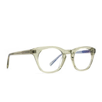 Callie prescription glasses with olive crystal frames angle view