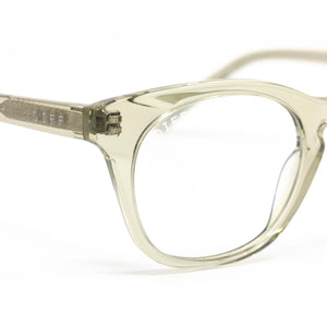 Callie prescription glasses with olive crystal frames detail view
