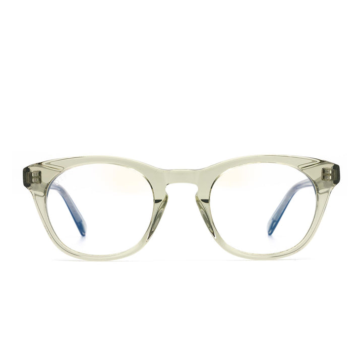 Callie eye glasses with olive crystal frames and blue light technology- front view