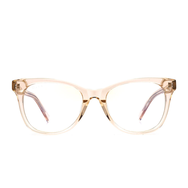Carina eye glasses with blush crystal frames and blue light technology- front view