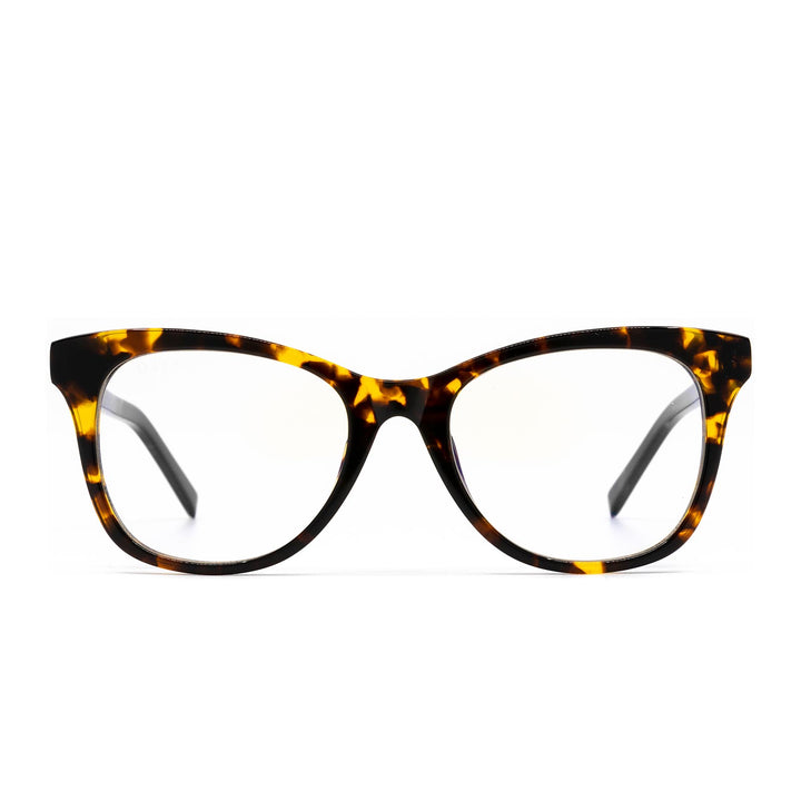 Carina eye glasses with dark tortoise frames and blue light technology- front view