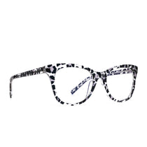 Carina eye glasses with clear leopard frames and blue light technology- angle view