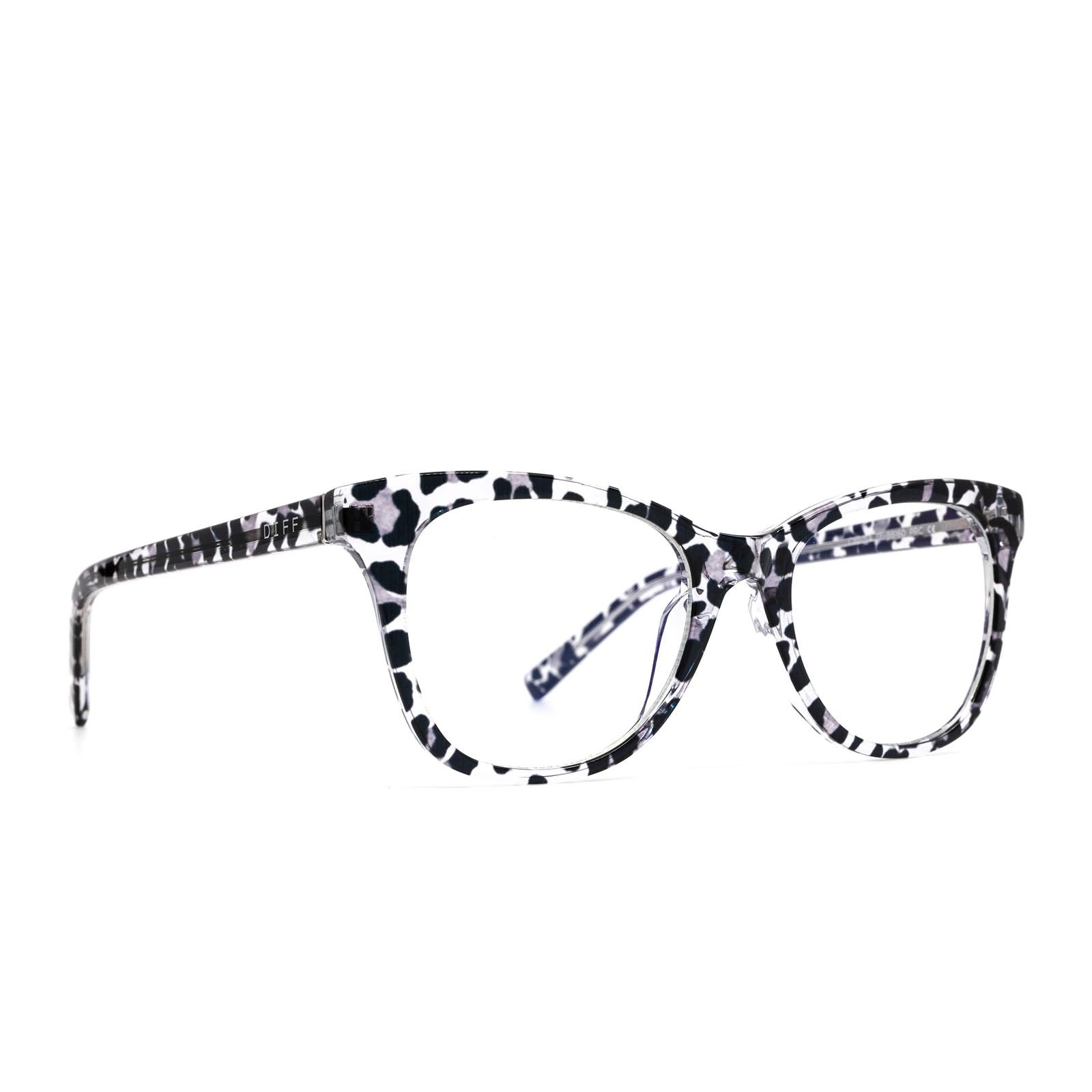 Carina prescription eyeglasses with clear leopard frames angle view
