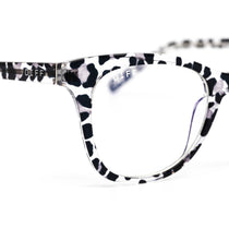 Carina prescription eyeglasses with clear leopard frames detailed view