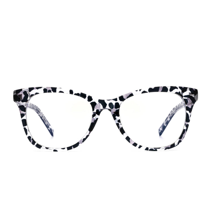 Carina eye glasses with clear leopard frames and blue light technology- front view