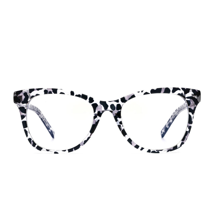 Carina prescription eyeglasses with clear leopard frames front view